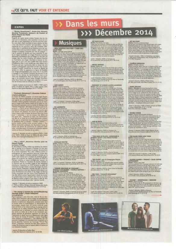 ARTICLE INTRAMUROS DE DECEMBRE 2014