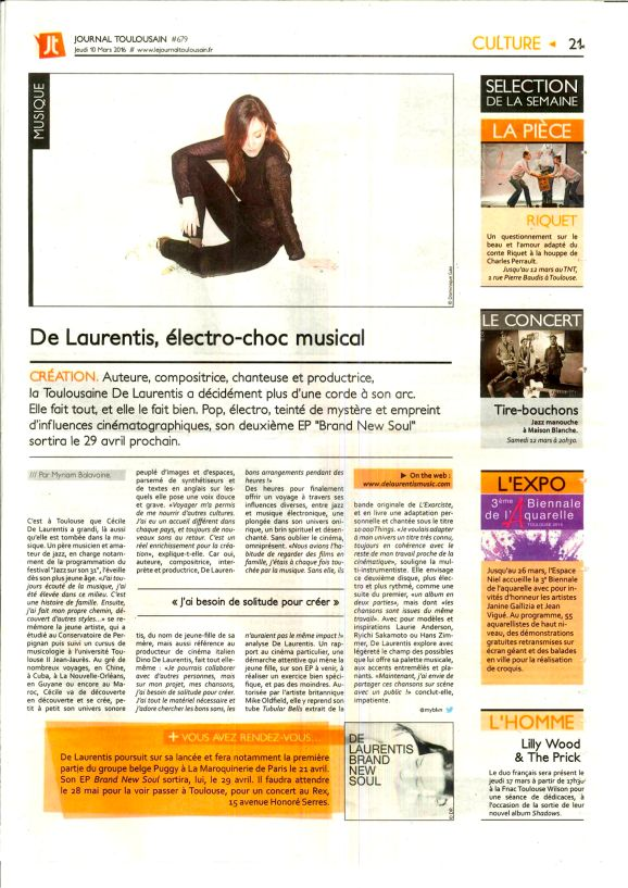 ARTICLE JOURNAL TOULOUSAIN DU 100316 CECILE